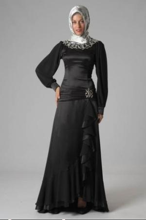 فستان محجبات اسود للسهرات