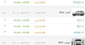 اسعار تويوتا بريوس وافانز واوريس 2014
