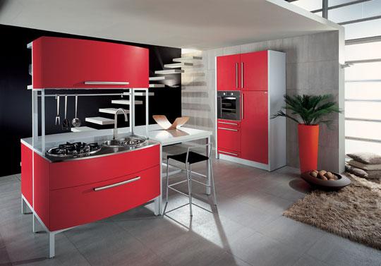 : مطابخ المنيوم لون احمر : مطابخ