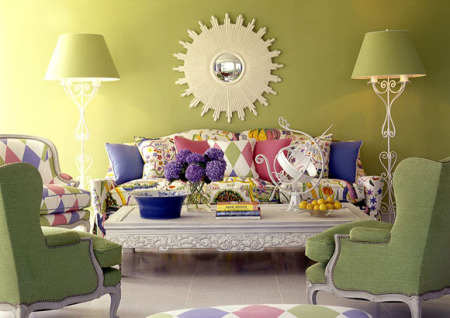 غرف جلوس باللون الاخضر