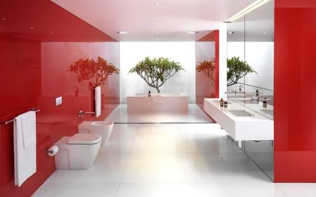 صور حمامات باللون الأحمر الفخم