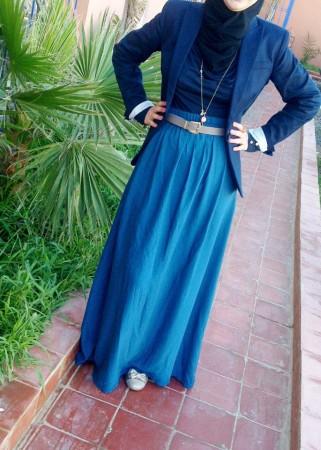 اجمل ملابس محجبات 2015 للشتاء ازرق