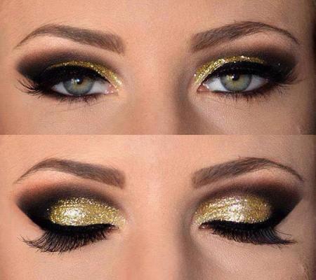 مكياج عيون ذهبي