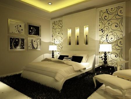 الوان غرف النوم 3 450x338 صور الوان دهانات حوائط المنزل و غرف النوم المودرن و الكلاسيكية