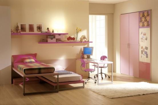 غرف نوم اطفال بنات بالوان مناسبة للبنات الكيوت 2016 (2)