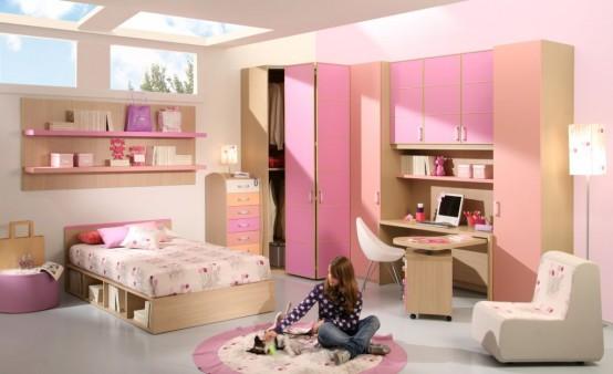 غرف نوم اطفال بنات بالوان مناسبة للبنات الكيوت 2016 (3)