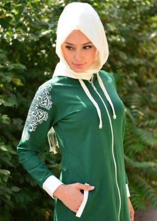لبس خروج محجبات اخضر 2016 (1)