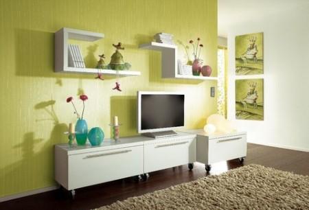 تصميمات رفوف حوائط خشبية (3)