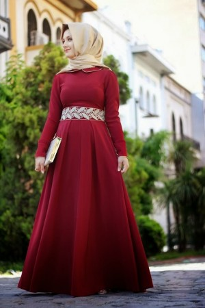 لبس دانتيل فستان محجبات 2016