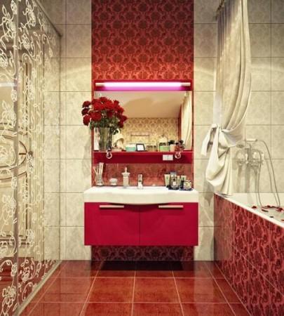 تصاميم حمامات باللون الاحمر (1)