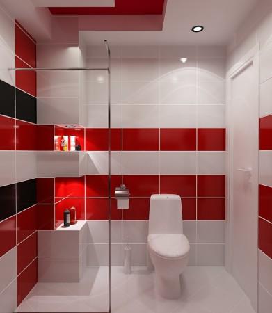 تصاميم حمامات باللون الاحمر (2)