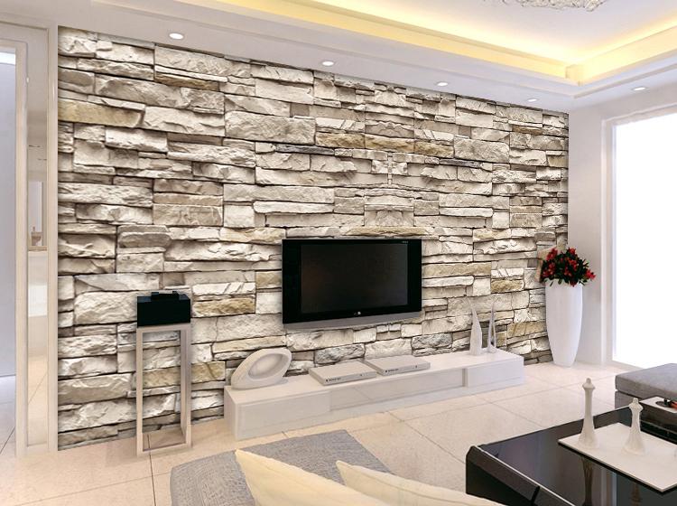 2017 Wohnzimmer Design Wand Stein
