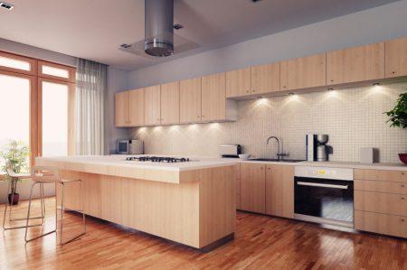 Modern bright kitchen interior 3d render
