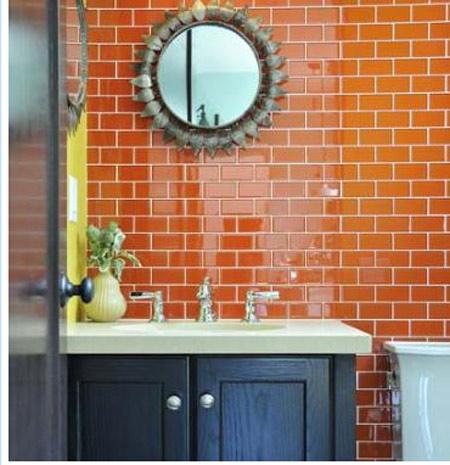 2014 for Orange and blue bathroom designs