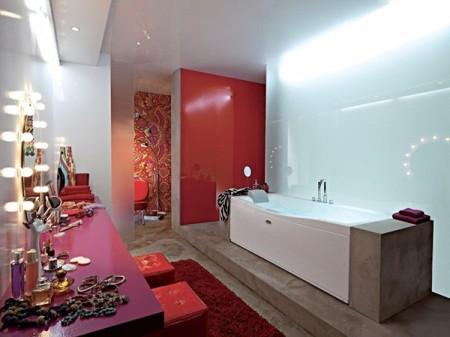 ديكورات حمامات حمراء