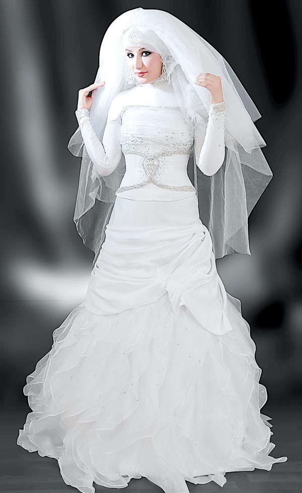 b321415d9 wedding احلي فساتين زفاف محجبات صور فساتين افراح جامده جدا ...