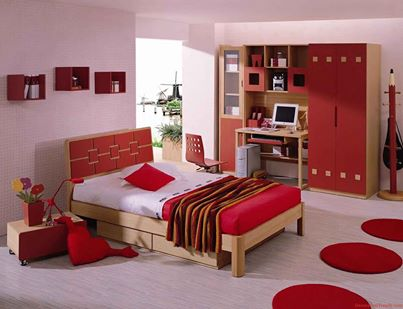 غرف نوم باللون الاحمر