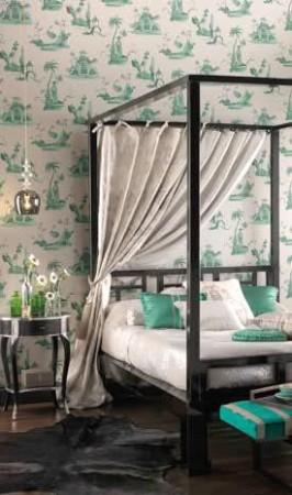 ورق جدران لغرف النوم اخضر