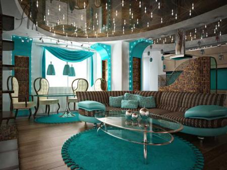احدث ديكورات غرف الجلوس باللون التركواز