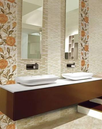 تصميمات حمامات باللون الأبيض حوض