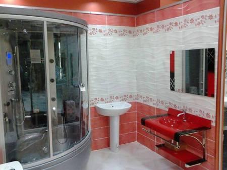 تصميمات حمامات باللون الأبيض واحمر