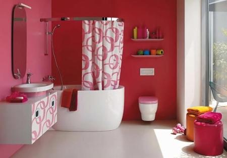 ديكورات حمامات صغيرة أحمر