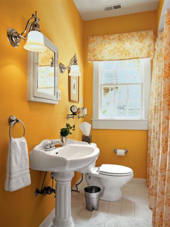 ديكورات حمامات صغيرة برتقالي