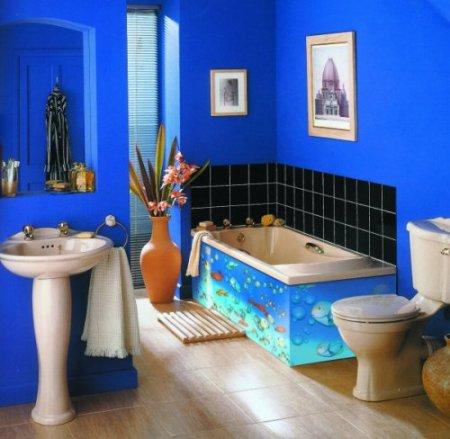 صور تصاميم حمامات ازرق