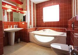صور تصاميم حمامات باللون الاحمر
