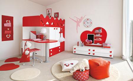 غرف نوم اطفال باللون الاحمر