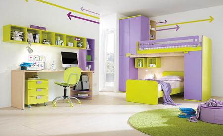 غرف نوم اطفال باللون الاخضر