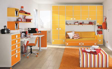غرف نوم اطفال باللون البرتقالي