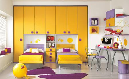 غرف نوم اطفال برتقالي