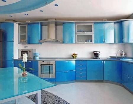 مطبخ باللون الازرق