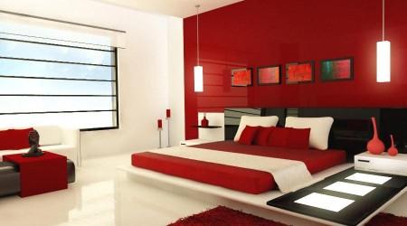 ديكور غرف نوم حمراء