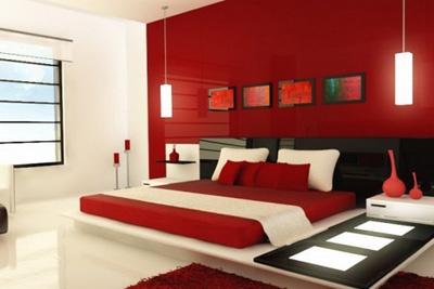 غرف نوم حمرا
