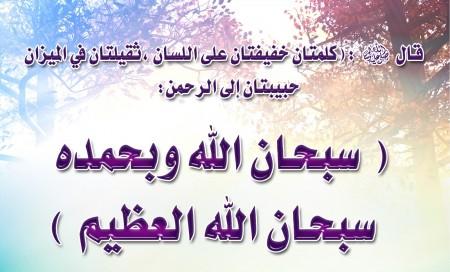 سبحان الله وبحمده سبحان الله العظيم (5)