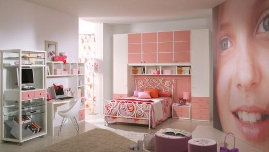 غرف نوم اطفال بنات بالوان مناسبة للبنات الكيوت 2016 (4)