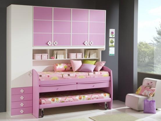غرف نوم اطفال بنات بالوان مناسبة للبنات الكيوت 2016 (5)