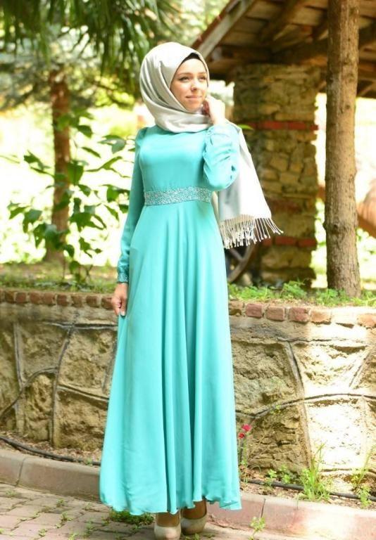 فستان خطوبة للبنات المحجبات2016 بالوان موضة جديدة (4)