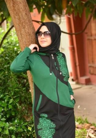 لبس خروج محجبات اخضر 2016 (2)