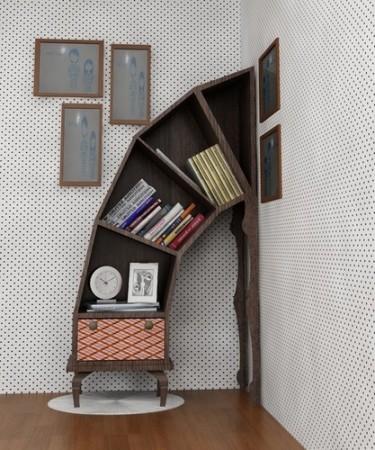تصميمات مكتبات كتب في المنزل باشكال مختلفة (2)