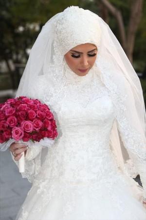 فساتين فرح محجبات 2016 احدث فساتين زفاف المحجبات (4)