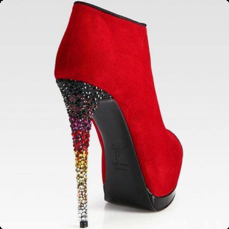 احذية كعب باللون الاحمر للبنات (2)