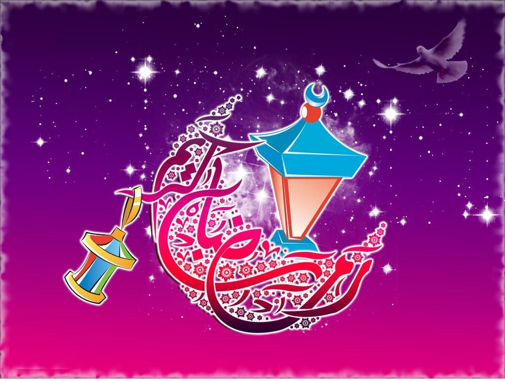 خلفيه شكل السماء عليها فوانيس رمضان