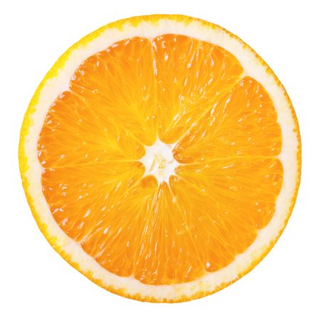 Slice of fresh orange isolated on white background
