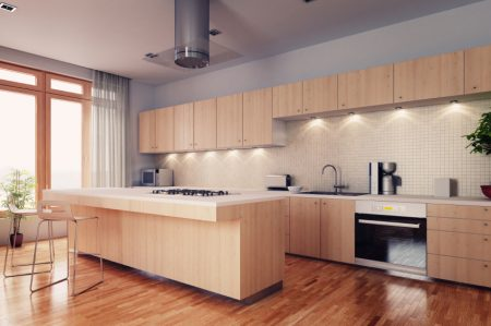 Modern bright kitchen interior 3d render
