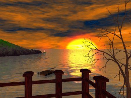 اجمل صور غروب الشمس امام البحر (1)