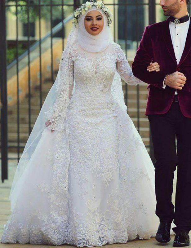 فساتين زفاف محجبات 2018 فساتين فرح محجبات (2)