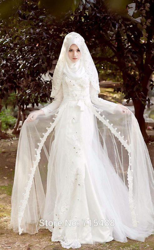 فساتين زفاف محجبات 2018 (1)